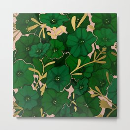 Green, Gold, and Pink, Floral Pattern Metal Print