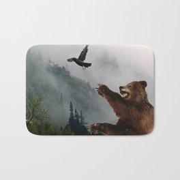 The Trickster - Raven & Grizzly Bear Art Print Bath Mat