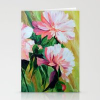 peonies Stationery Cards featuring Peonies by OLHADARCHUK