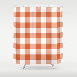 Modern Burnt Orange Gingham Plaid Shower Curtain