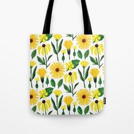 Watercolor sunshine yellow green daisies floral Tote Bag