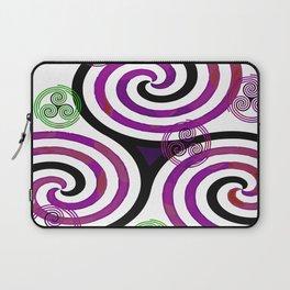 Modern Celtic Plum and Green Triple Spiral Pattern Laptop Sleeve