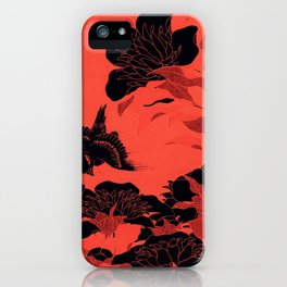 Japanese Flowers Coral Red & Black iPhone Case