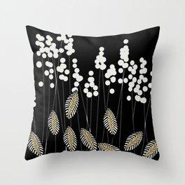 Hello Fall! White/Black/Yellow Retro Plants on Black #decor #society6 #buyart Throw Pillow