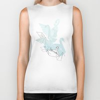 swan Biker Tanks featuring Swan by Lucy Selina Hall