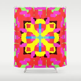 Key Lime Geometric Fuzzy Floral Shower Curtain