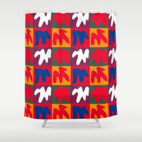 matisse Shower Curtains featuring M for Matisse by CHOCOLORS