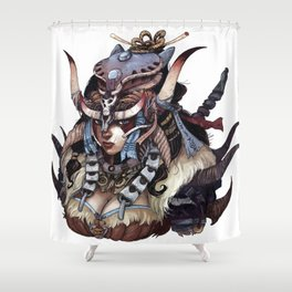 skull clan warrior Shower Curtain