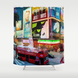 Times Square II (pastel paint style) Shower Curtain