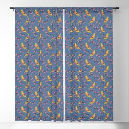 Cute folk birds on blue background. Blackout Curtain
