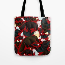 Marten tropical pattern Red Tote Bag