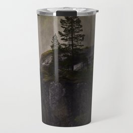 Sunlit waterfall detail in Norway Travel Mug