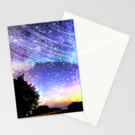 Northern lights moon landscape Stationery Cards