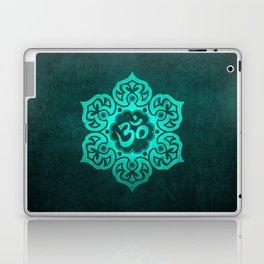 Vintage Scratched Teal Blue Lotus Flower Yoga Om Laptop & iPad Skin