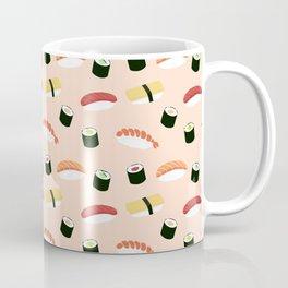 Lovely Japanes sushi drawing illustration on pastel background. Maki ands rolls with tuna, salmon, shrimp, crab. Coffee Mug