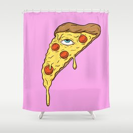 All Seeing Pizza Shower Curtain