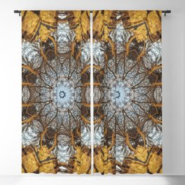 Golden stone, blue sky and arching branches kaleidoscope Blackout Curtain