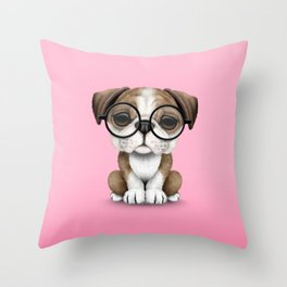 Cute English Bulldog Puppy Wearing Glasses on Pink Throw Pillow