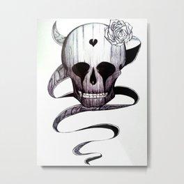 Skull Love Metal Print