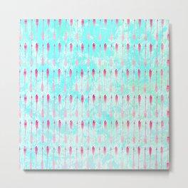 Pink turquoise watercolor modern arrows pattern Metal Print