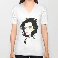 selena V-neck T-shirts featuring Selena Kyle by Made on Sundays