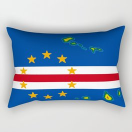 Cape Verde Flag with Map of the Cape Verde Islands Rectangular Pillow