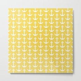 Yellow Nautical - Coastal - Yellow Anchor Pattern Metal Print