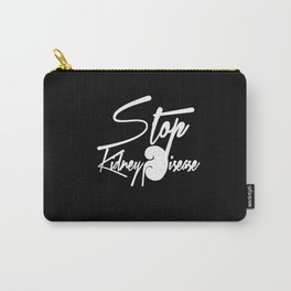 Stop Kidney Disease - WhiteText / Black Background Carry-All Pouch