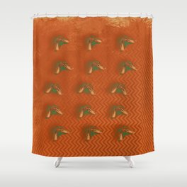 Butterflies in formation on orange rust chevrons and texture Shower Curtain