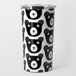 Cute black and white bear illustration Travel Mug
