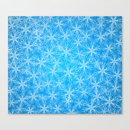 Snowflakes pattern on blue background Canvas Print