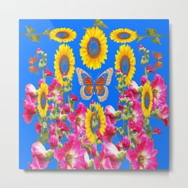ASSORTED FLOWERS MODERN BLUE ART Metal Print