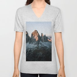 Dolomites sunset panorama - Landscape Photography Unisex V-Neck
