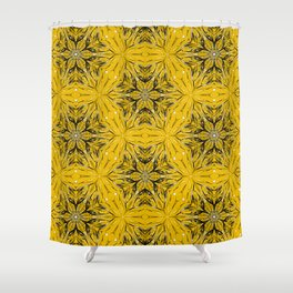 Black and yellow star ornament Shower Curtain