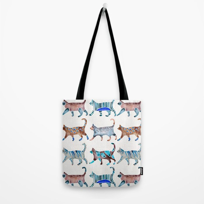 Cat Collection – Blue & Brown Palette Tote Bag