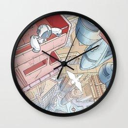 Robot lost in futurist city Wall Clock