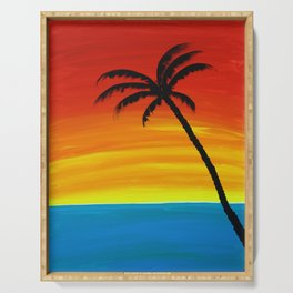 Sunset Palm Serving Tray