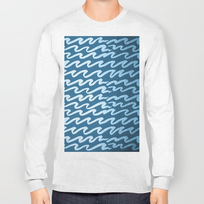 Abstract Waves - Blue Raspberry Shimmer on Saltwater Taffy Teal Long Sleeve T-shirt