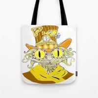 steam punk Tote Bags featuring Steam Punk Cat by J&C Creations