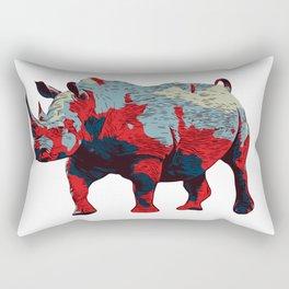 Colorful Rhino Art Rectangular Pillow
