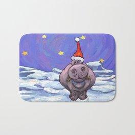 Hippopotamus Christmas Bath Mat