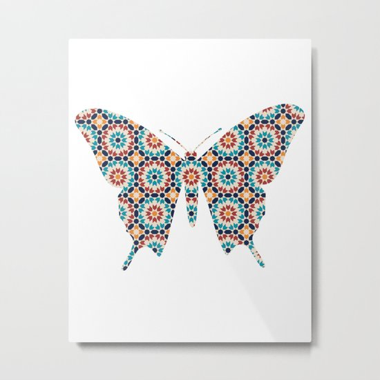 BUTTERFLY SILHOUETTE WITH PATTERN Metal Print