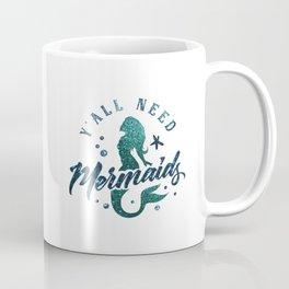 Mermaids - aqua and green glitter design Coffee Mug