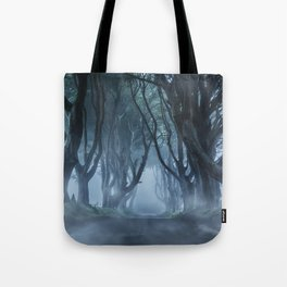 Very cold foggy morning at Dark Hedges Tote Bag