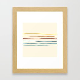 Bright Classic Abstract Minimal 70s Rainbow Retro Summer Style Stripes #1 Framed Art Print