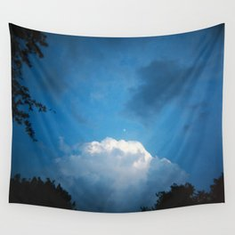 Early Evening Moon in a Late Summer Sky - Holga Film Photograph Wall Tapestry