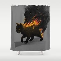 satan Shower Curtains featuring This Cat Is On Fire! by nicebleed