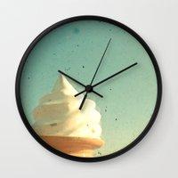 ice cream Wall Clocks featuring Ice Cream by Cassia Beck