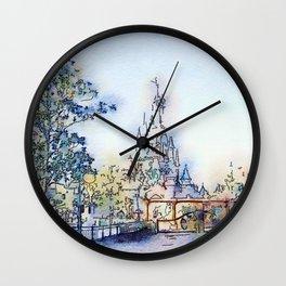 Fairy-tale Castle Watercolor Wall Clock