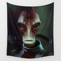 mass effect Wall Tapestries featuring Mass Effect: Mordin Solus by Ruthie Hammerschlag